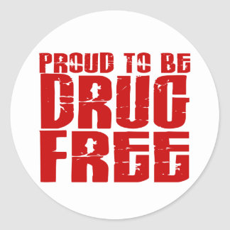 Proud To Be Drug Free 2 Classic Round Sticker