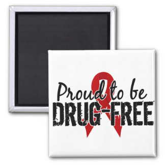 Proud To Be Drug Free 2 Inch Square Magnet