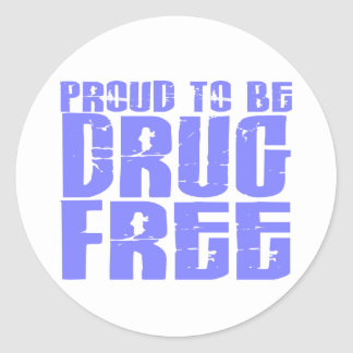 Proud To Be Drug Free 2 Light Blue Classic Round Sticker