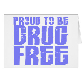 Proud To Be Drug Free 2 Light Blue Greeting Card