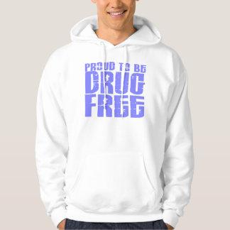 Proud To Be Drug Free 2 Light Blue Hoodie