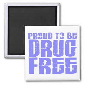 Proud To Be Drug Free 2 Light Blue Refrigerator Magnet