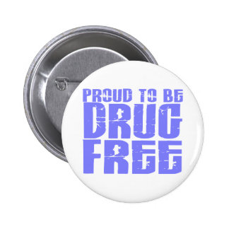 Proud To Be Drug Free 2 Light Blue Pinback Button
