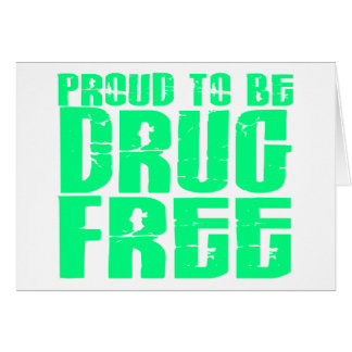 Proud To Be Drug Free 2 Light Green Greeting Card