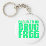 Proud To Be Drug Free 2 Light Green Keychain