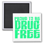 Proud To Be Drug Free 2 Light Green Magnets