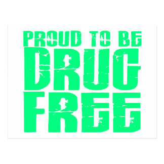 Proud To Be Drug Free 2 Light Green Postcard