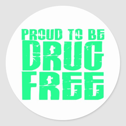 Proud To Be Drug Free 2 Light Green Sticker
