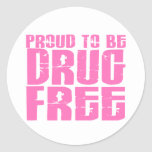 Proud To Be Drug Free 2 Pink Classic Round Sticker