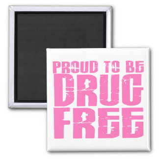 Proud To Be Drug Free 2 Pink Fridge Magnets