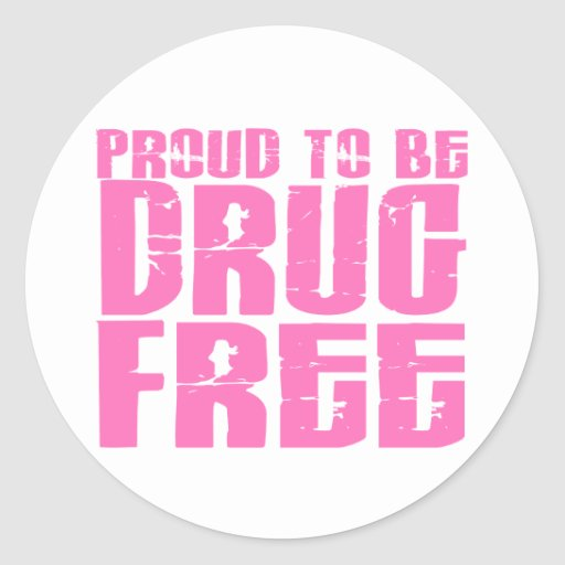 Proud To Be Drug Free 2 Pink Stickers