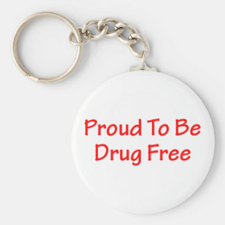 Proud to be drug free keychain