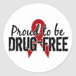 Proud To Be Drug Free Round Stickers