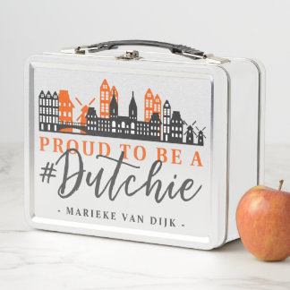 Proud To Be Dutch Hashtag Dutchie Holland Skyline Metal Lunch Box