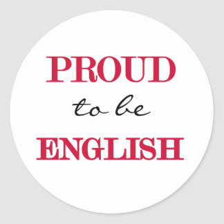 Proud To Be English Classic Round Sticker