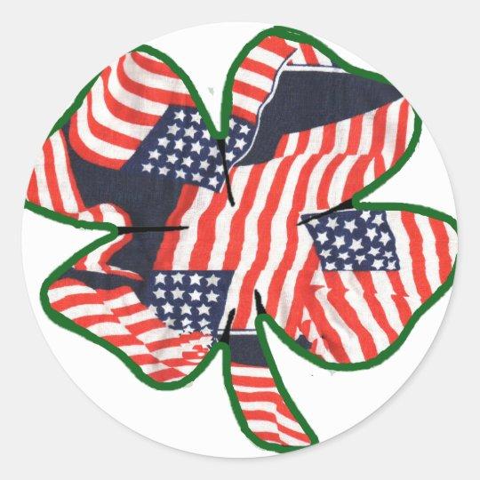 Proud to be Irish American Shamrock Classic Round Sticker