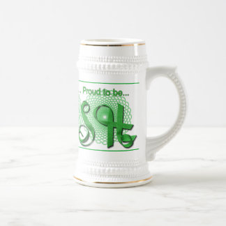 """""""Proud to be Irish"""" Ribbon Holiday Typography Beer Stein"""