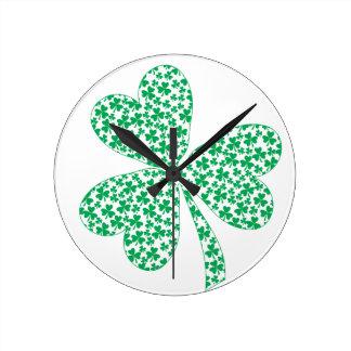 Proud To Be Irish - St Pattys Shamrock Round Clock