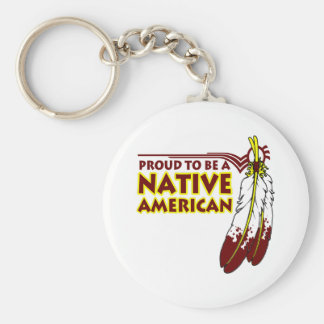 Proud To Be Native American Indian Basic Round Button Keychain