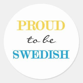 Proud To Be Swedish Classic Round Sticker