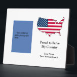 """Proud to Serve Military Plaque<br><div class=""""desc"""">Show off your soldier on this fully customizable &quot;Proud to Serve&quot; military plaque. Better and more long lasting than a frame. Choose your photo; easy to size it to fit as you desire. Change the words to fit the situation. Great gift idea! And be sure to tell them thanks for...</div>"""
