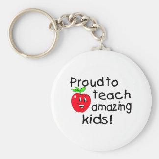 Proud To Teach Amazing Kids (Apple) Basic Round Button Keychain