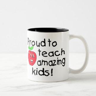 Proud To Teach Amazing Kids (Apple) Two-Tone Coffee Mug