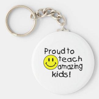 Proud To Teach Amazing Kids (Smiley) Basic Round Button Keychain