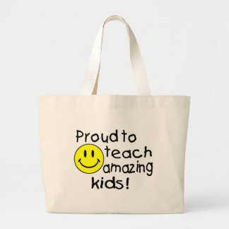 Proud To Teach Amazing Kids (Smiley) Large Tote Bag