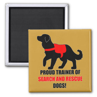 Proud Trainer: Search and Rescue Golden Retriever 2 Inch Square Magnet
