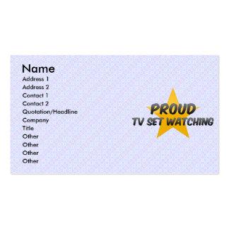 Proud Tv Set Watching Business Card Template