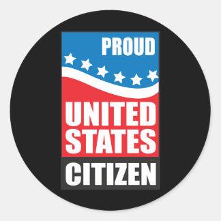 Proud U.S. Citizen Classic Round Sticker