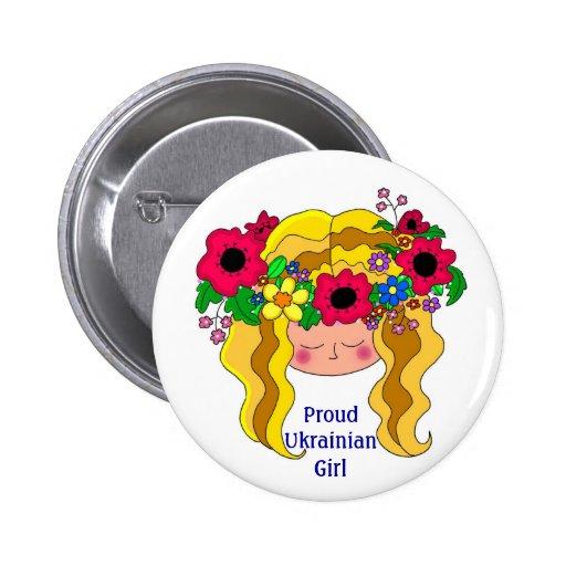 Proud Ukrainian Girl Ukrainian Folk Art Button
