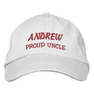 PROUD UNCLE Custom Name WHITE and RED A13 Embroidered Hat