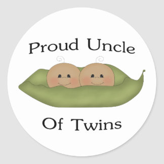 Proud Uncle Of Twins Classic Round Sticker