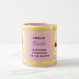 Proud Uncle Pink and Yellow Stripe Baby Two-Tone Coffee Mug