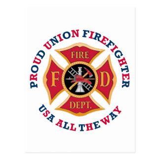 Proud Union Firefighter Postcard