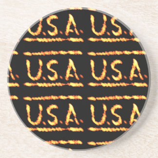 Proud USA Gold Feel Confident Display Commitment Drink Coaster