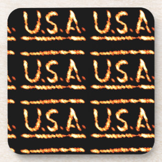 Proud USA Gold Feel Confident Display Commitment Coasters
