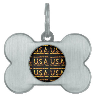 Proud USA Gold Feel Confident Display Commitment Pet Name Tags