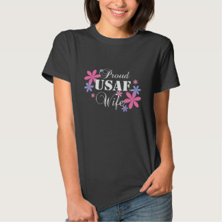 Proud USAF Wife Floral Tshirts