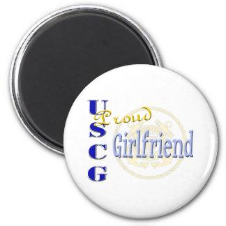 Proud USCG Girlfriend 2 Inch Round Magnet