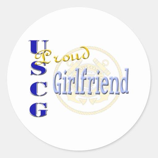 Proud USCG Girlfriend Classic Round Sticker