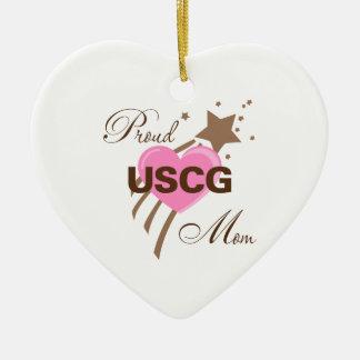 Proud USCG Mom Heart Ceramic Ornament