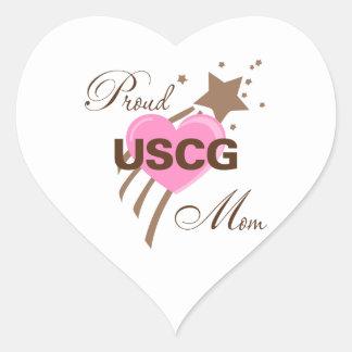 Proud USCG Mom Heart Heart Sticker