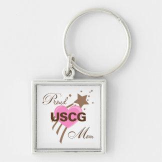 Proud USCG Mom Heart Keychain