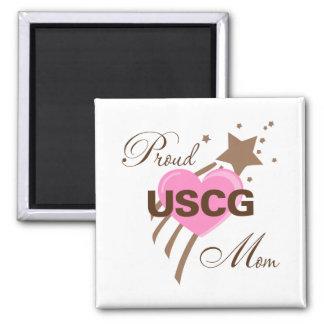 Proud USCG Mom Heart Magnet