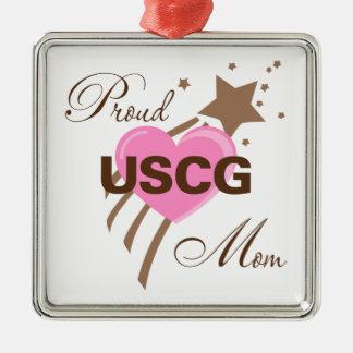 Proud USCG Mom Heart Metal Ornament