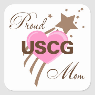 Proud USCG Mom Heart Square Sticker