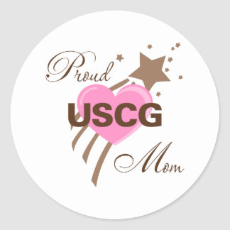 Proud USCG Mom Heart Round Stickers
